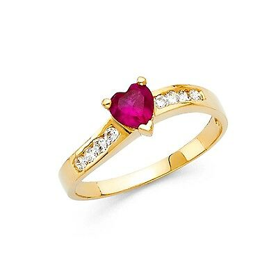 Red CZ Heart Ring Solid 14k Yellow Gold Love Band Promise Ring Fashion Style
