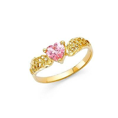 Pink CZ Heart Ring Solid 14k Yellow Gold Love Band Curve Promise Ring Style