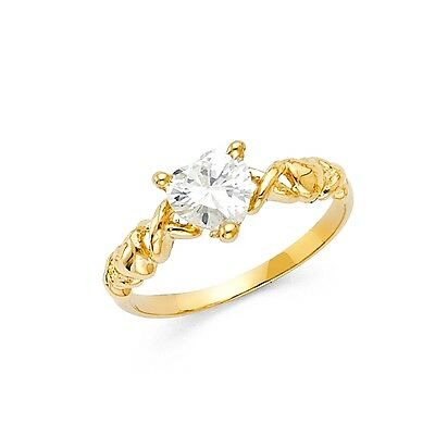 Infinity Heart Ring CZ Solid 14k Yellow Gold Band Love Twisted Style Promise XOX