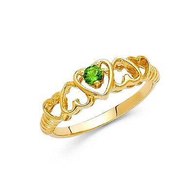Heart Ring Solid 14k Yellow Gold Love Band Green CZ Fashion Style Polished Fancy