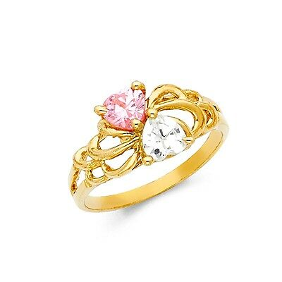 CZ Pink Ring Solid 14k Yellow Gold Love Band Two Hearts Together Style Fancy
