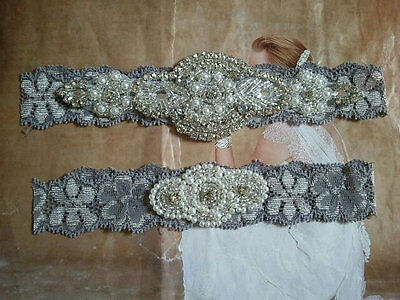 Wedding Garter, Rhinestone Garter Set, GRAY Lace, Keepsake & Toss Garter Set
