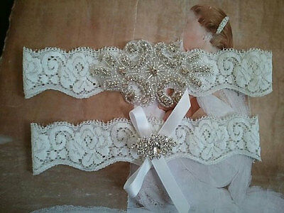 Wedding Garter, Rhinestone Garter Set, White Lace, Keepsake & Toss Garter Set