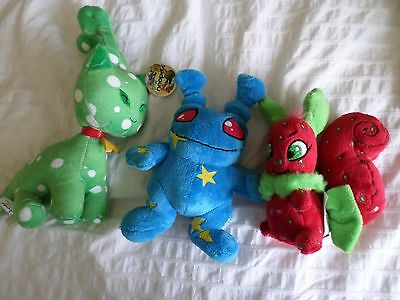 Neopets Green Speckled Aisha Alien Cat NWT, blue creature and Red Squirrel