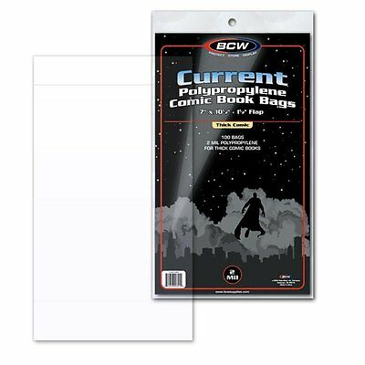 """200 BCW Current Modern Comic THICK Bags/Sleeves 7"""" x 10.5"""" Polypropylene"""