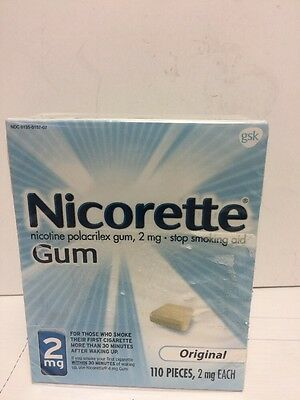 NICORETTE GUM STOP SMOKING AID ORIGINAL 2 MG ( 110 PIECES) great exp 05/2019