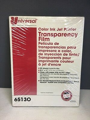 (I) NEW Color Ink Jet Printer Transparency Film #65130/ 50 Sheets by Universal
