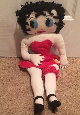 Betty Boop Vintage Cloth Stuffed Plush Red Dress High Heel Shoes Homemade Doll