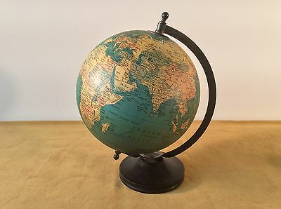 "Vtg 8"" World Globe Desk Top Wood Base Shows Russia Turquoise Blu Gold Bird Logo"