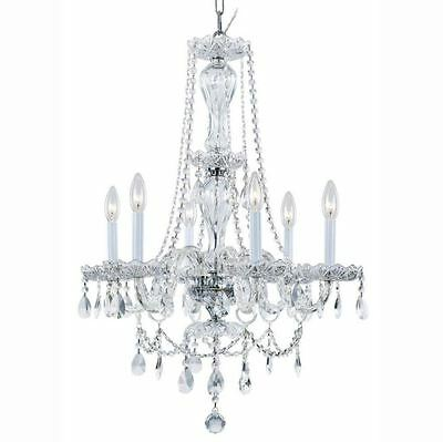 6-Light Chandelier, Candle-Style Chrome & Clear Crystal Chandeliers,Ceiling Deco