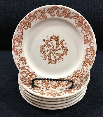 "6 Vintage Shenango China 7.25"" Cream With Light Brown Restaurant Ware Plates"