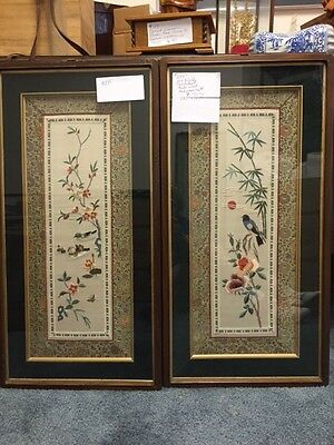 Asian Embroidered Silk Framed Wall Hangings(2)