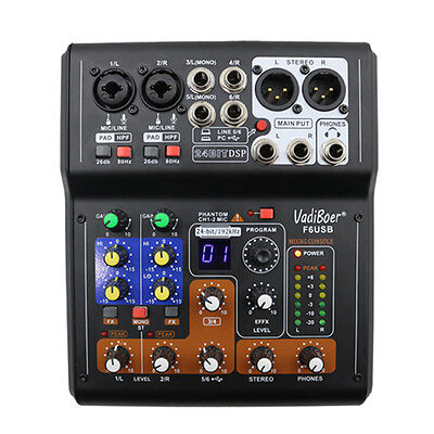 Mini Audio Mixer Console with USB,Built in effect processor  6 channel with 48v