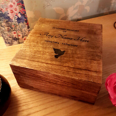 Wooden Funeral Cremation Urn For Human Ashes Personalised Lasered Cremation Box