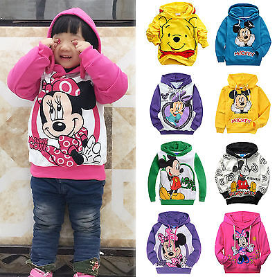 Kids Baby Boy Girl Mickey Minnie Mouse Hooded Sweatshirt Outfit Clothes Age 2-9Y