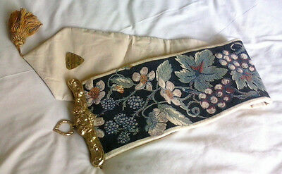 VINTAGE Floral Tapestry Bell Pull - Wall Hanging Brass End