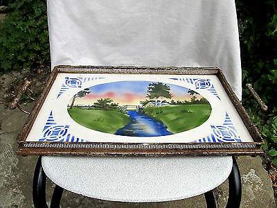 Antique Vintage Old Porcelain Czechoslovakia Serving Tray Signed