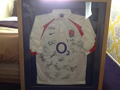 Framed England Rugby Shirt - signed by 2003 World Cup Winning Squad