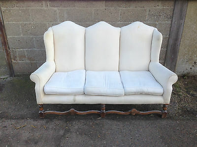 Vintage Country House Continental Triple Humpback Queen Anne Sofa For Renovation