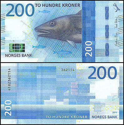 Norway 200 Krone Banknote, 2017 (2016), P-NEW, UNC