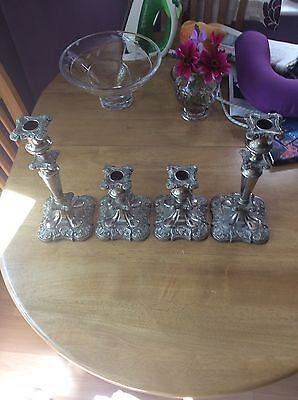 Vintage Silver Plated Candle Holders 4