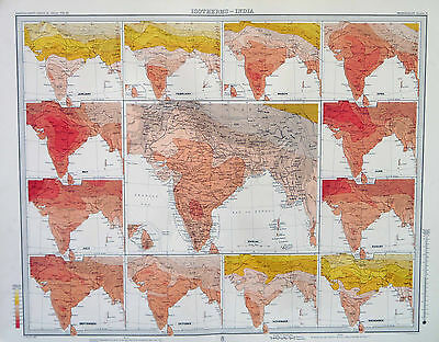 Map of India Isotherms Large 1899 Original Antique