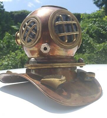 Vintage Nautical Copper with Brass Scuba Diving Helmet 7 '' High  by  71/2 wide