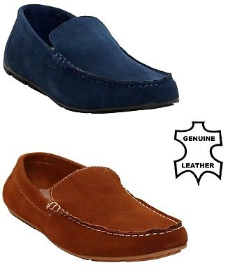 Mens Real Suede Leather Slip on Loafer Casual Driving Moccasin Shoes Size 6 - 12