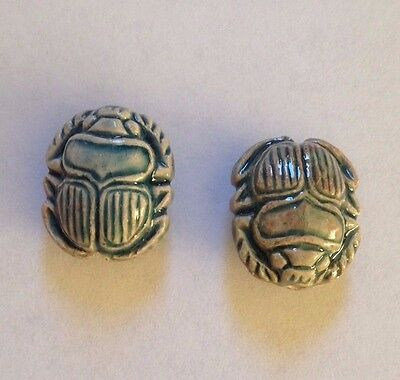 2 x High Fired Glazed Ceramic Scarab Bead - approx 14.5 x 12.5 x 8 mm