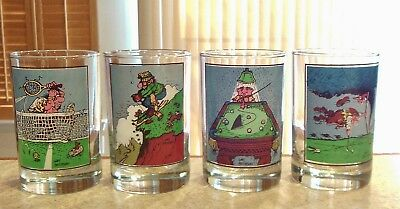 Complete Set of Vintage 1982 Thought Factory Glasses By Gary Patterson From Arby