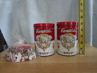 Campbells Soup Tins Lot of 2  1 Tin Has Puzle Inside w/Free Shipping