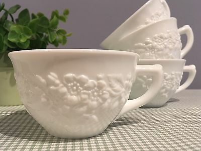 4 Vintage White Milk Glass Cups Garden Flowers Embossed Unique Tea  Punch Coffee
