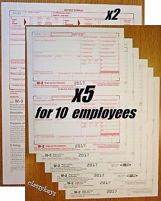 6-part LASER 2017 IRS Tax Form W-2 Wage Stmt single sheet set for 2 employees