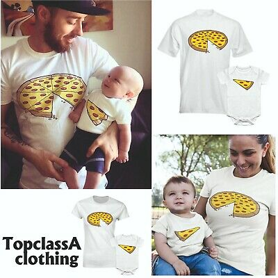 Whole Pizza Slice Fathers Daddy Dad Son Daughter Mum Matching T shirts - Single
