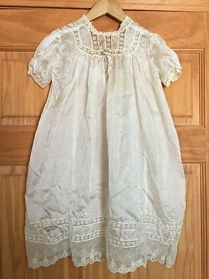 Antique Vintage Baby Infant Christening Baptism Gown Silk With Cotton Lace
