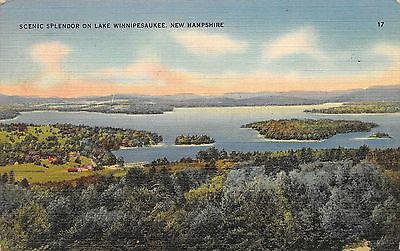 Postcard NH Scenic Splendor on Lake Winnipesaukee Vintage Posted 1941 PC