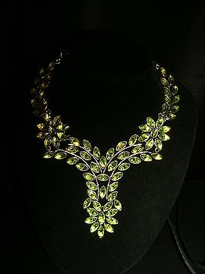 necklace long unique peridot silver plated Cleopatra cluster bib adj.