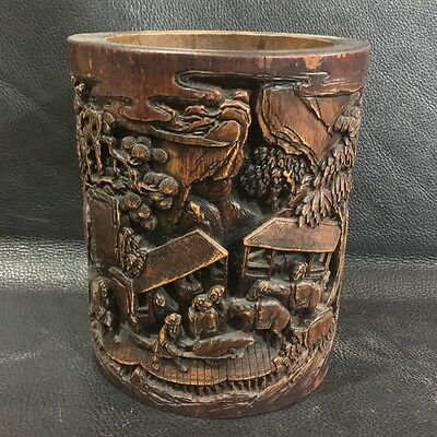 Chinese Exquisite hand-carved Natural human landscape carving Bamboo Brush Pot
