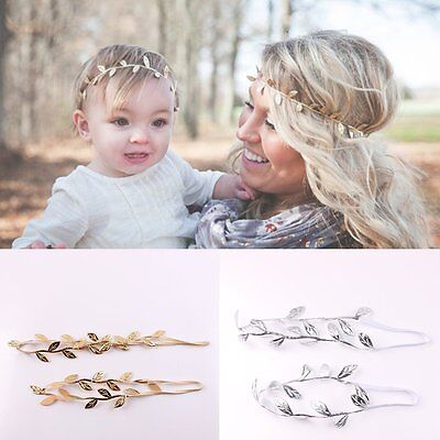2PCS/Set Mom Mother & Daughter Leaf Chain Jewelry Headband Head Piece Hair band
