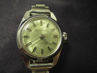 Benrus 17 Jewel Wrist Watch With Band Vintage - Not Currently Working