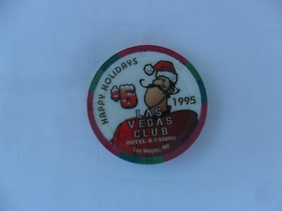 $5 Las Vegas Club 1995/1996 Holiday Chip Christmas New Years Casey Obsolete