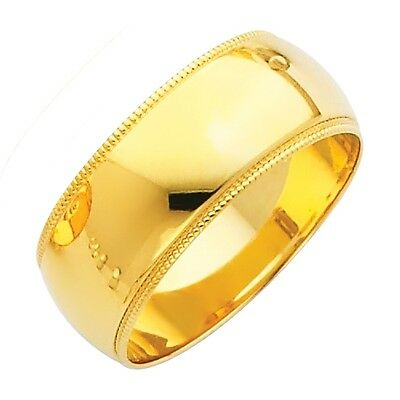 White Gold Solid 5mm CLASSIC FIT Milgrain Wedding Band Ring Wellingsale Mens 14k Yellow OR