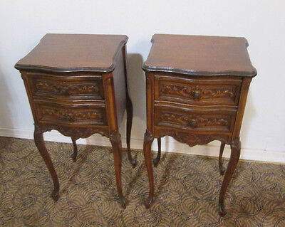 58226 Pair Vintage French Carved Nightstands