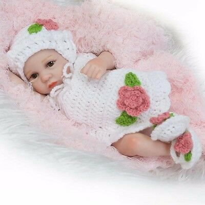 US 10inch Realistic Baby Doll Full Body Silicone Reborn Lifelike Baby Girl Toy