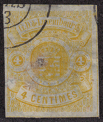 LUXEMBOURG Used Scott # 6 Imperf three nice margins - pencil # (1 Stamp)