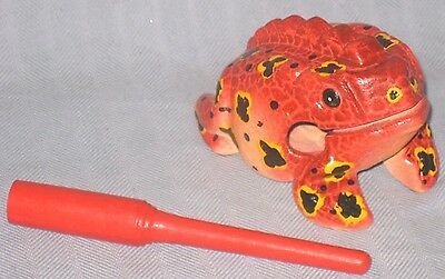 Handmade & Hand Painted Wooden Red Frog Toy Percussion Instrument from Thailand