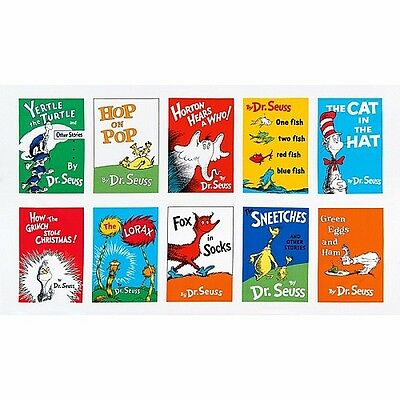 Celebrate Dr Seuss Adventure book covers patchwork fabric panel