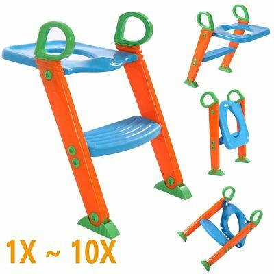 LOT Toilet Potty Seat Chair Kids Toddler With Ladder Step Up Training Stool OY