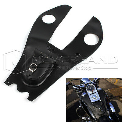Black Leather Gas Tank Bag Cover Pad With Pouch For Harley Electra Street Glide