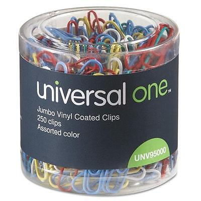 Universal 95000 Paper Clips, Vinyl Coated Wire, Jumbo, Assorted Colors, 250/Pack